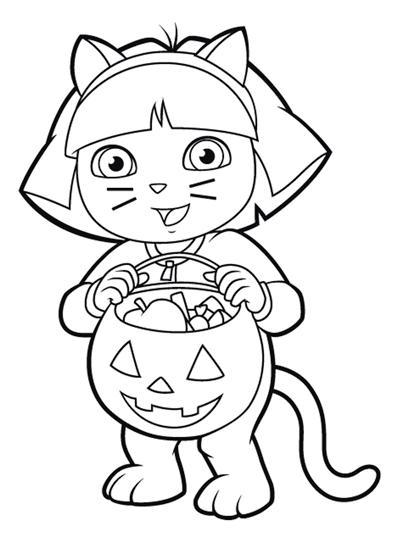 Coloriage a imprimer dora deguise en chat gratuit et colorier - Coloriage dora gratuit a imprimer ...