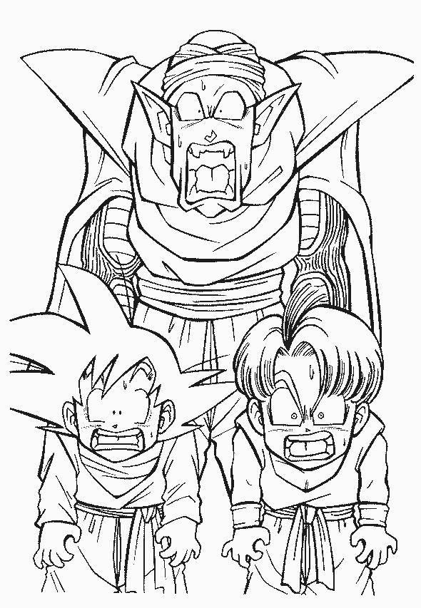 Coloriage a imprimer dragon ball z petit coeur trunck et - Dessin de dragon ball ...