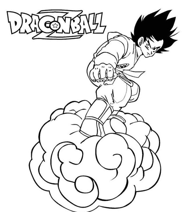 Coloriage A Imprimer Dragon Ball Z Sur Son Nuage Gratuit Et Colorier