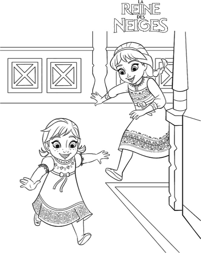 coloriage elsa et anna enfants qui jouent - Dessin Elsa