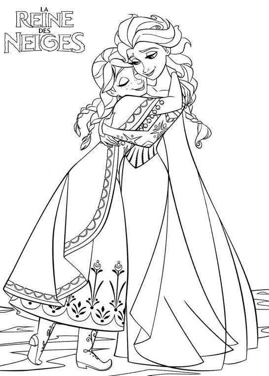Coloriage a imprimer elsa et anna se retrouvent gratuit et - Coloriage princesse des neiges ...