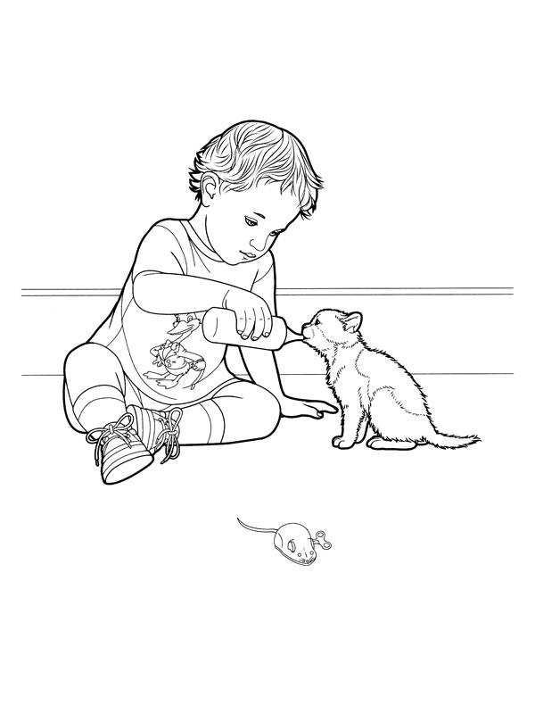 Coloriage a imprimer enfant donnant son biberon au chaton - Dessin de biberon ...
