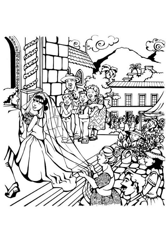 Coloriage a imprimer entree des maries dans l eglise - Eglise dessin ...