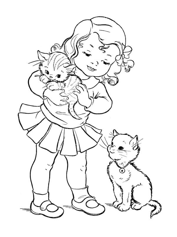 Coloriage a imprimer fillette et ses deux chatons gratuit et colorier - Coloriage fillette ...