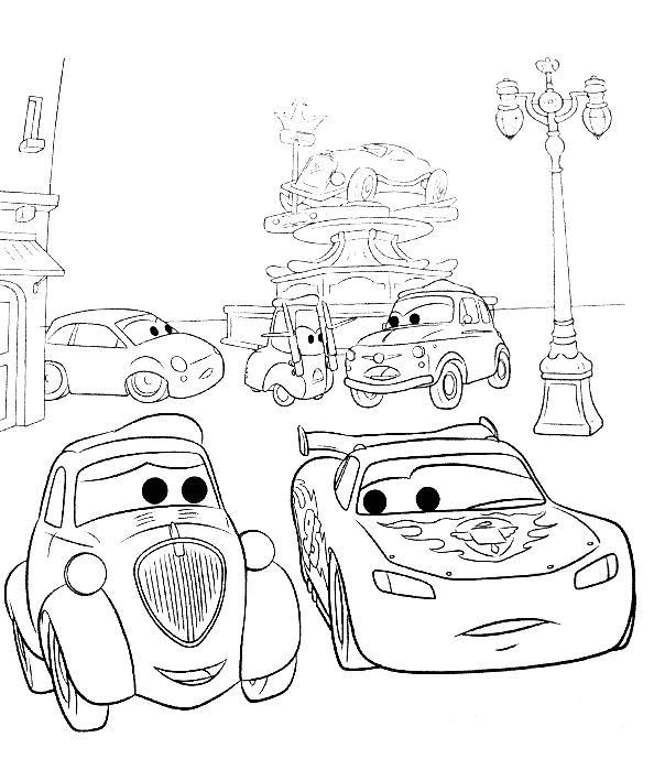 Coloriage a imprimer flash mac queen et ses amis cars 2 gratuit et colorier