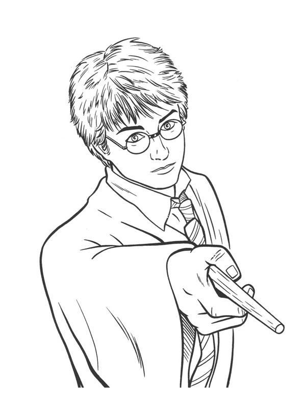 Coloriage A Imprimer Harry Potter Et Sa Baguette Gratuit Et Colorier