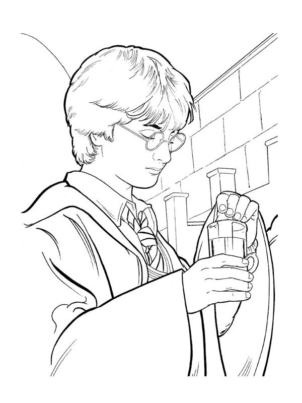 Coloriage a imprimer harry potter prepare une potion - Dessin harry potter facile ...