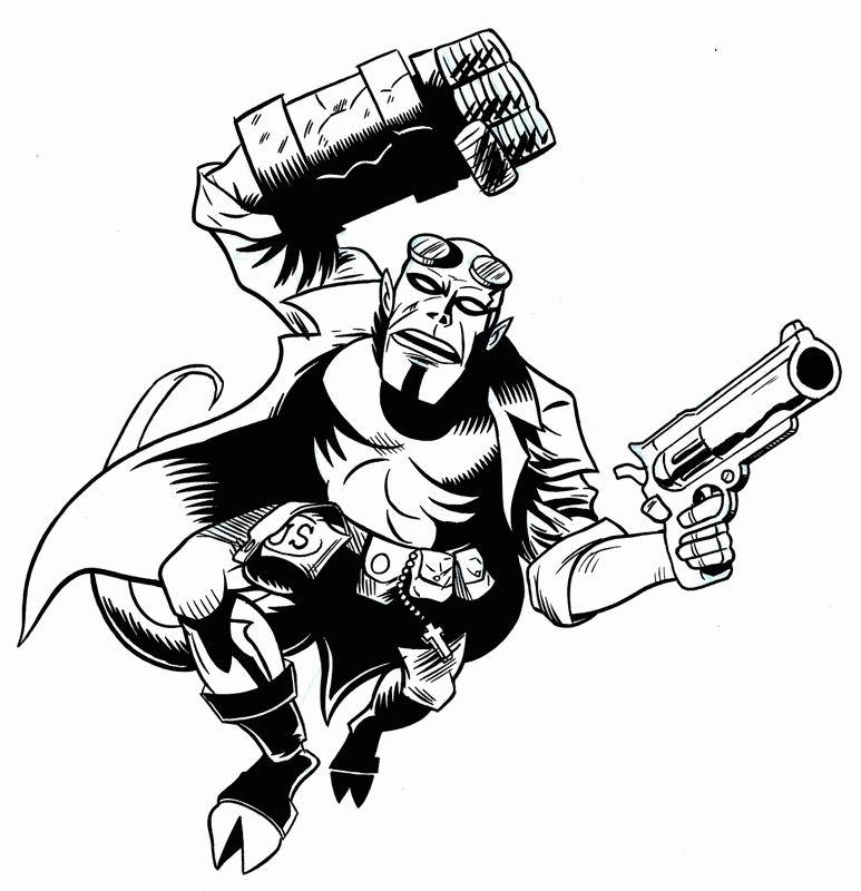 Coloriage a imprimer hellboy arme a la main gratuit et - Coloriage de arme ...