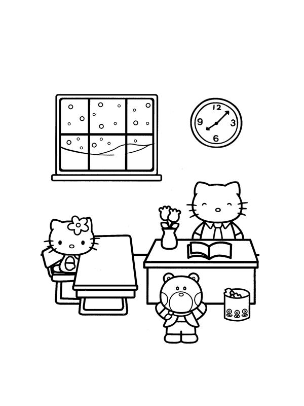 Coloriage Decole A Imprimer Gratuit.Coloriage A Imprimer Hello Kitty A L Ecole Gratuit Et Colorier