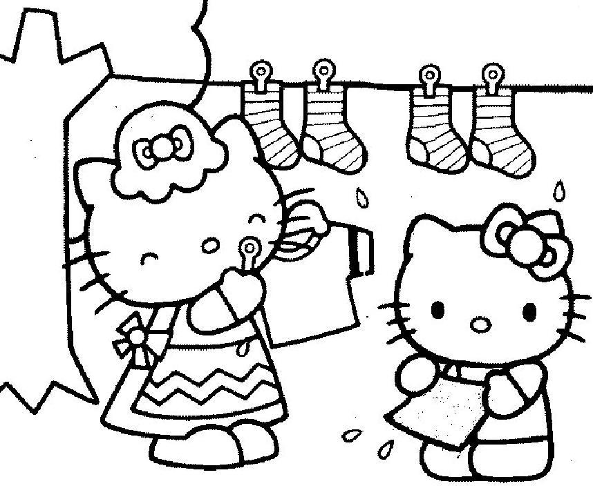coloriage à imprimer gratuit : hello kitty aide sa maman a etendre le