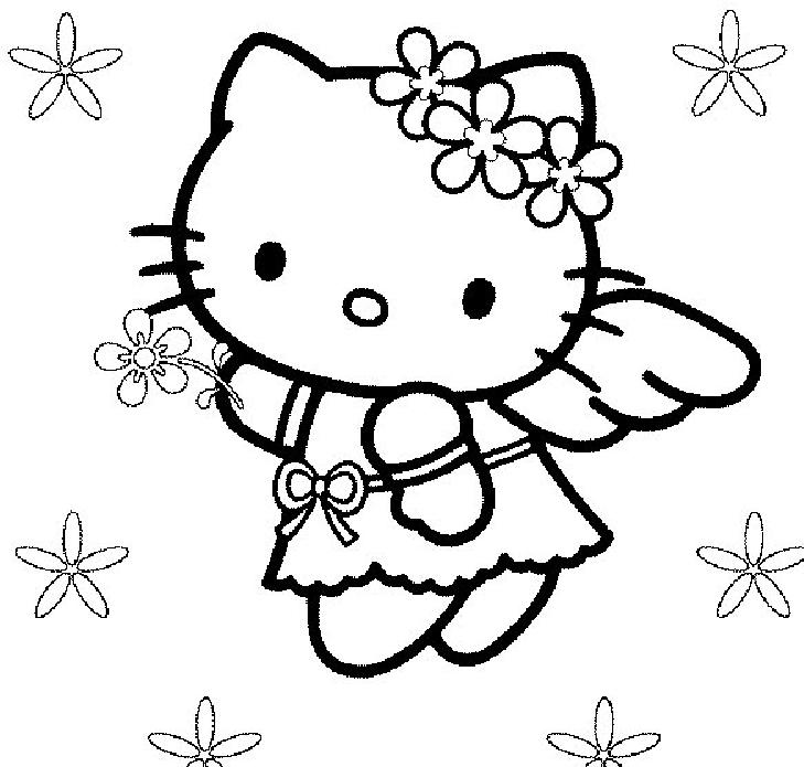 Coloriage a imprimer hello kitty ange gratuit et colorier - Coloriage hello kitty a colorier ...