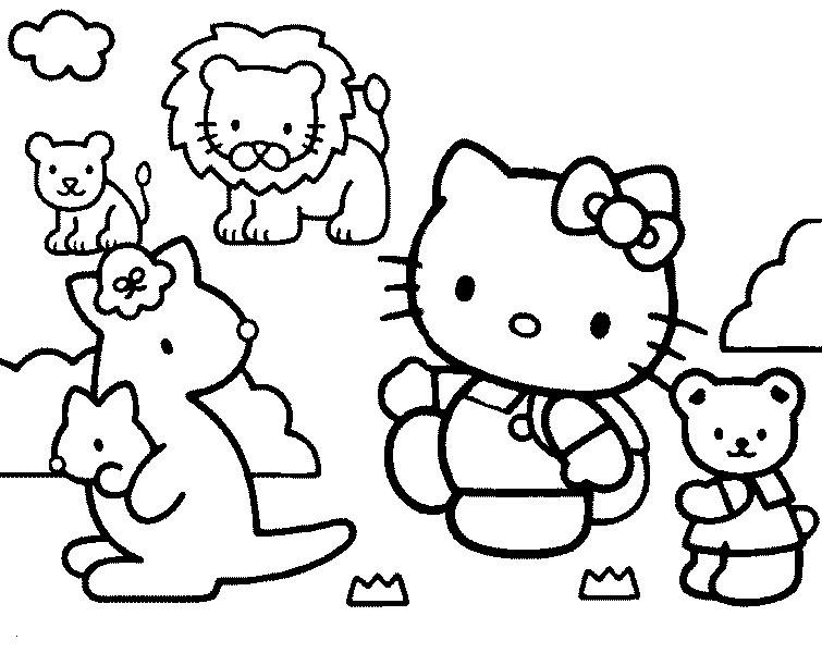 Coloriage a imprimer hello kitty au zoo gratuit et colorier - Coloriage de zoo ...