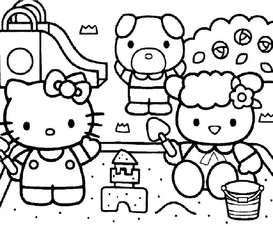Coloriage a imprimer hello kitty avec ses amis jouent dans - Dessin a imprimer de hello kitty ...