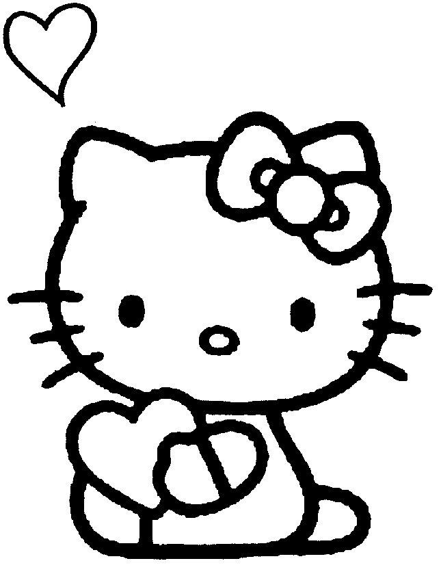 coloriage hello kitty avec ses coeurs - Hello Kitty Dessin