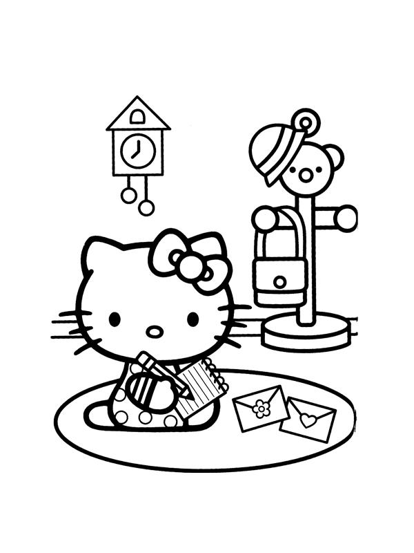 Coloriage a imprimer hello kitty ecrit une lettre gratuit et colorier - Coloriage hello kitty et mimi ...