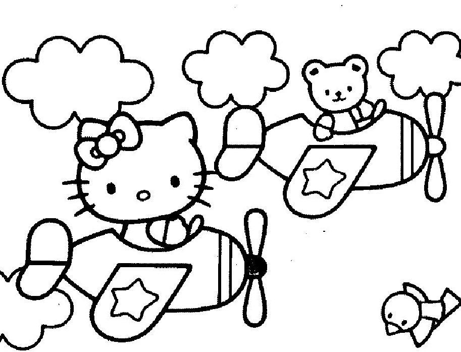 Coloriage A Imprimer Hello Kitty En Avion Gratuit Et Colorier