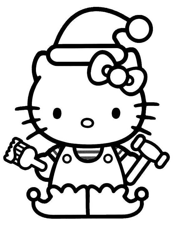 Coloriage a imprimer hello kitty en lutin de noel gratuit - Coloriage hello kitty gratuit ...
