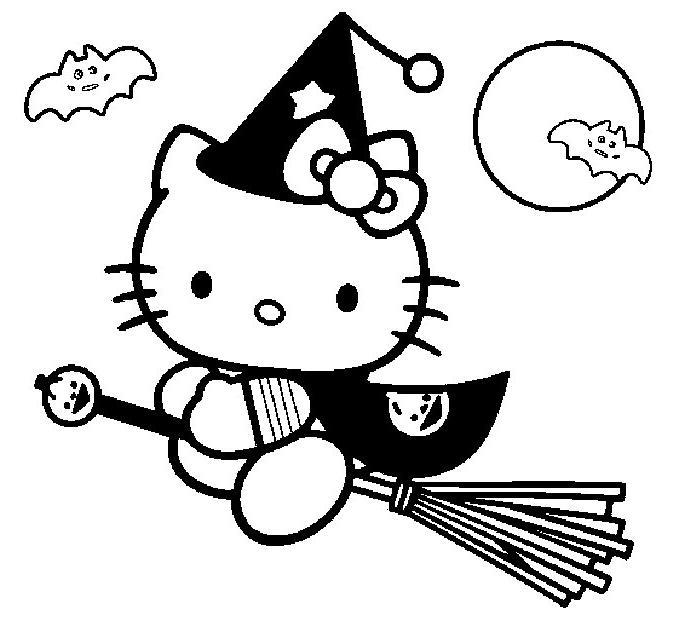 coloriage hello kitty en sorciere sur son balai - Dessin De Sorciere