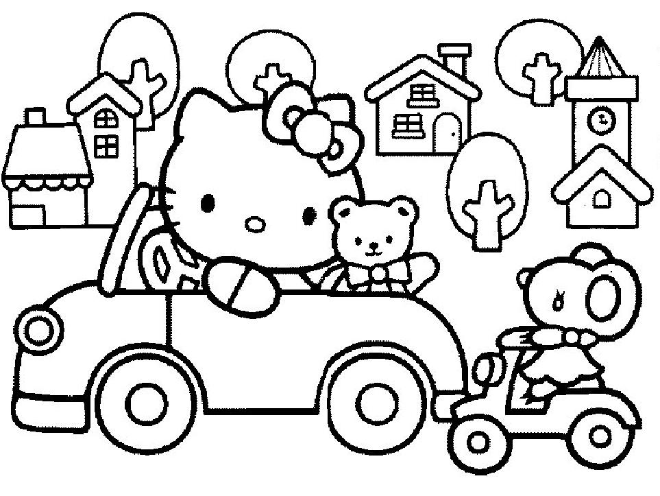 Coloriage a imprimer hello kitty en voiture gratuit et - Coloriage hello kitty a colorier ...