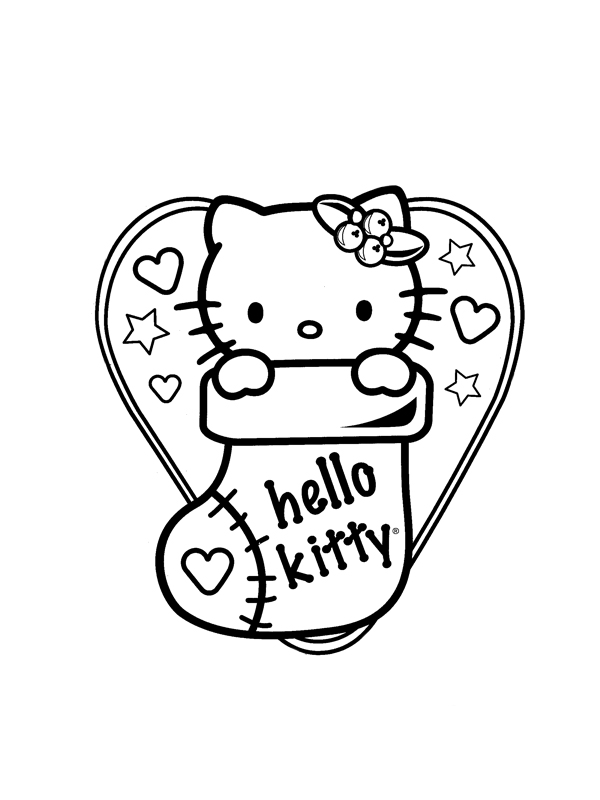 Coloriage a imprimer hello kitty et la chaussette de noel gratuit et colorier - Kitty noel coloriage ...