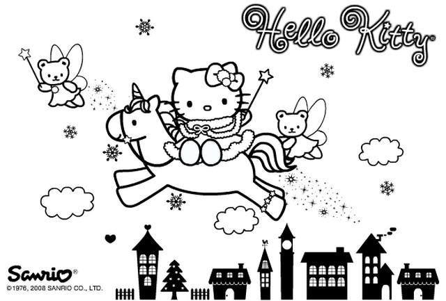 Coloriage a imprimer hello kitty et la licorne gratuit et colorier - Coloriage hello kitty et la licorne ...