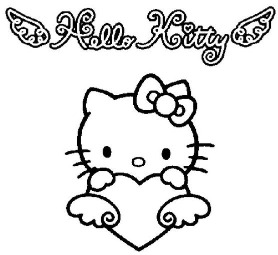 Coloriage a imprimer hello kitty et le coeur gratuit et - Coloriage hello kitty coeur ...