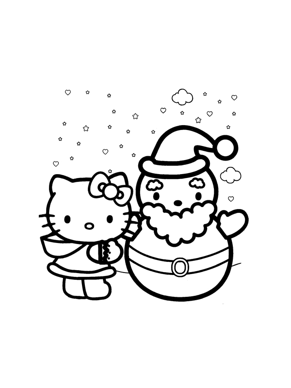 Coloriage a imprimer hello kitty et le pere noel gratuit - Coloriage hello kitty a colorier ...