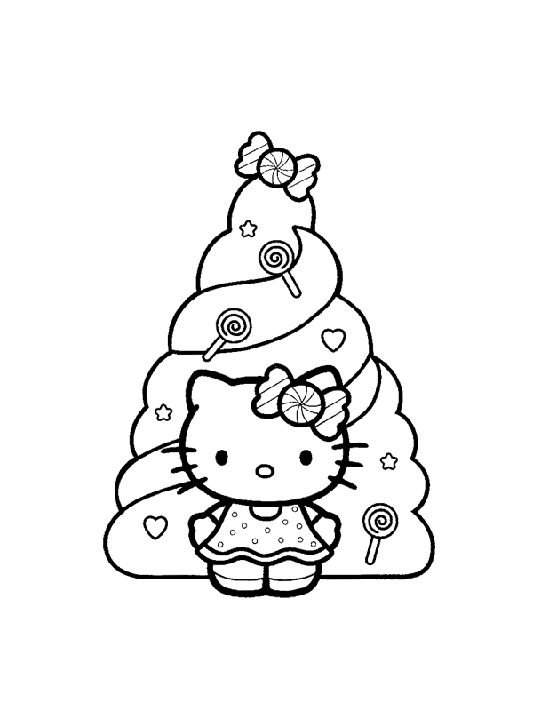 Coloriage a imprimer hello kitty et le sapin de bonbons - Coloriage hello kitty gratuit ...