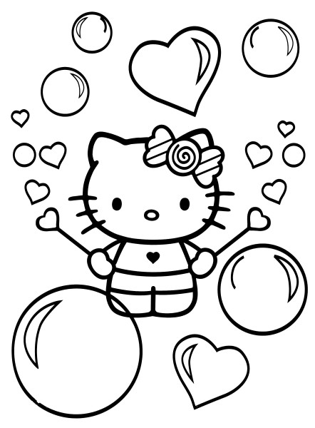 Coloriage a imprimer hello kitty et les bulles de savon - Coloriage hello kitty a colorier ...