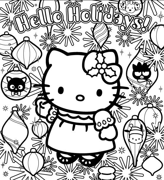 Coloriage a imprimer hello kitty et les decorations de noel gratuit et colorier
