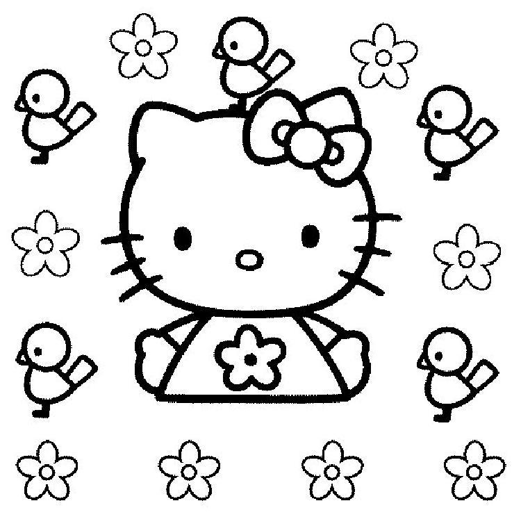 Google Hello Kitty Coloring Pages : Coloriage a imprimer hello kitty et les oiseaux gratuit