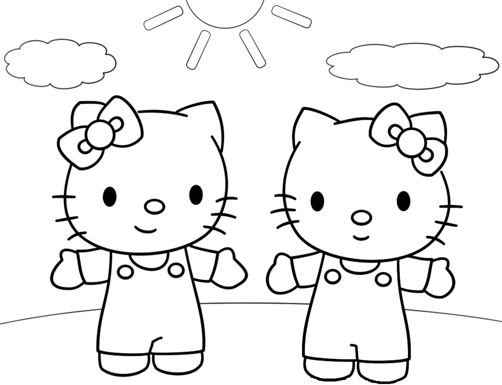 Coloriage a imprimer hello kitty et mimi gratuit et colorier - Hello kitty et mimi ...