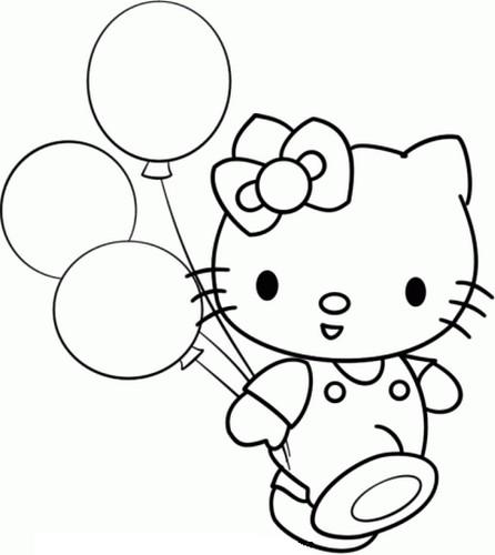 Coloriage a imprimer hello kitty et ses ballons gratuit et colorier - Coloriage de hello kitty a imprimer ...
