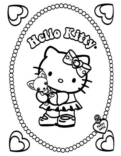 Coloriage De Petit Chien A Imprimer.Coloriage A Imprimer Hello Kitty Et Son Petit Chien Gratuit Et Colorier