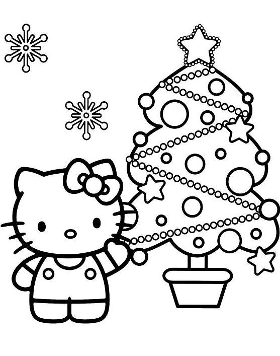 Coloriage a imprimer hello kitty et son sapin de noel gratuit et