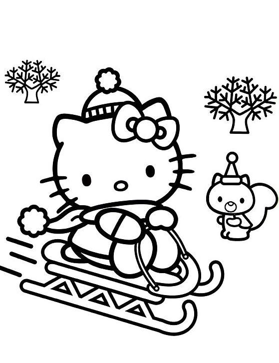 Coloriage A Imprimer Hello Kitty Fait De La Luge Gratuit Et Colorier