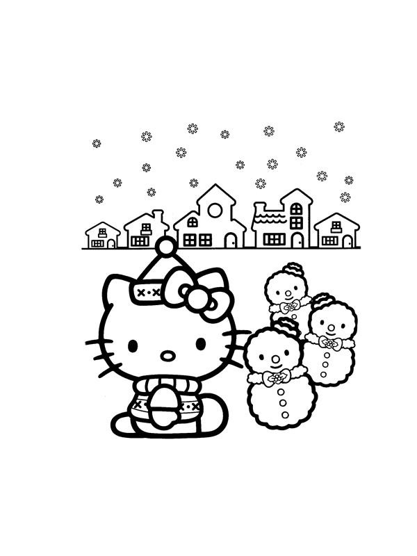 Coloriage a imprimer hello kitty fait des bonhommes de neiges gratuit et colorier - Coloriage kitty a imprimer gratuit ...