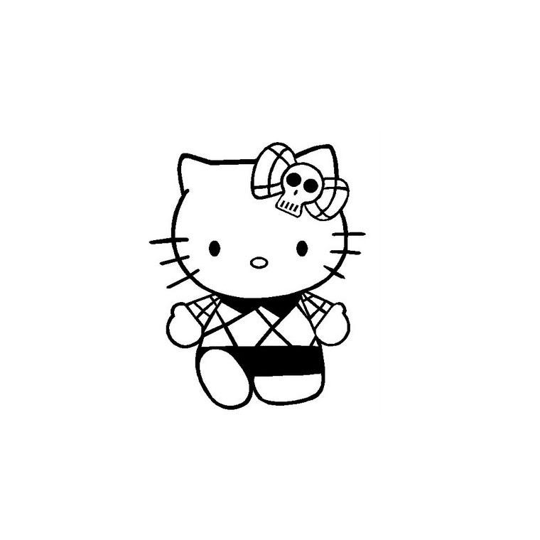 Coloriage a imprimer hello kitty gothique gratuit et colorier