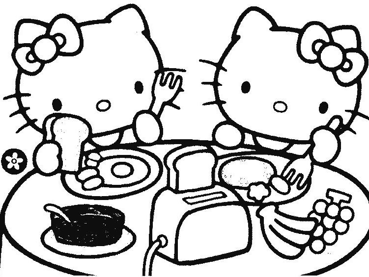 Coloriage a imprimer hello kitty mange gratuit et colorier - Hello kitty a imprimer ...