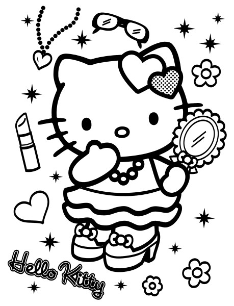 Coloriage a imprimer hello kitty modele de mode gratuit et - Coloriage hello kitty a colorier ...