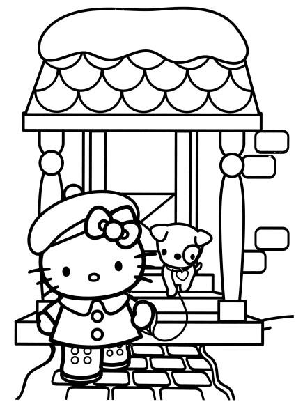 Coloriage a imprimer hello kitty sort promener son petit chien gratuit et colorier - Dessin de petit chien ...