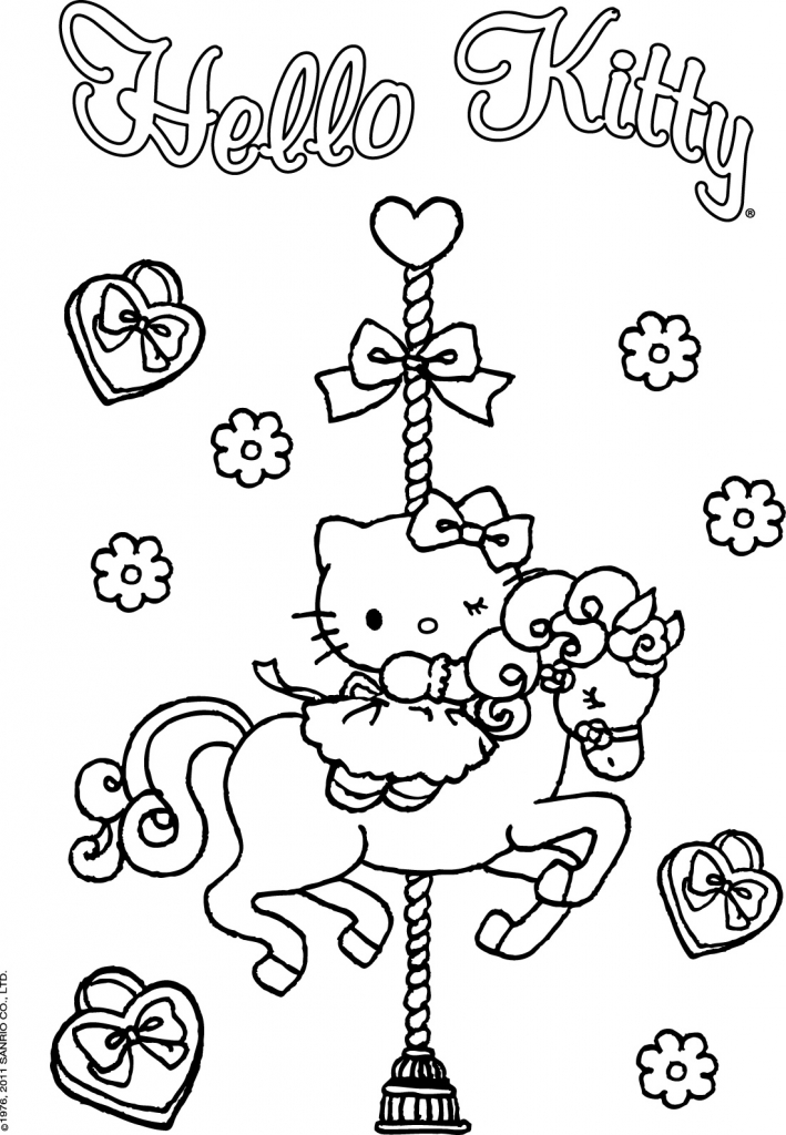 Coloriage Hello Kitty Cheval.Coloriage A Imprimer Hello Kitty Sur Le Manege De Chevaux Gratuit Et