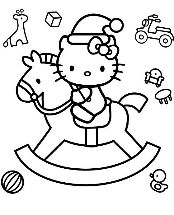 Coloriage a imprimer hello kitty sur un cheval a bascule - Coloriage hello kitty a colorier ...