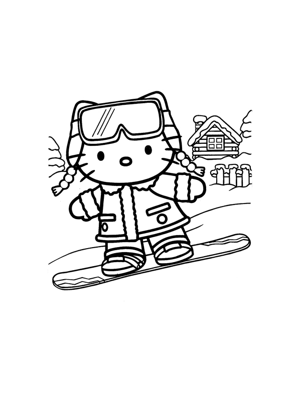 Coloriage a imprimer hello kitty surfeuse gratuit et colorier - Coloriage hello kitty a colorier ...