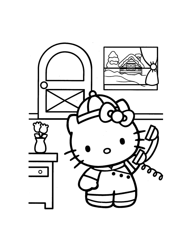 Coloriage a imprimer hello kitty telephone gratuit et colorier - Coloriage kitty a imprimer gratuit ...