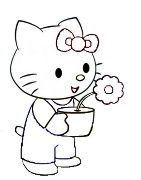 Coloriage a imprimer hello kitty tient un pot de fleur gratuit et colorier - Coloriage hello kitty fleurs ...