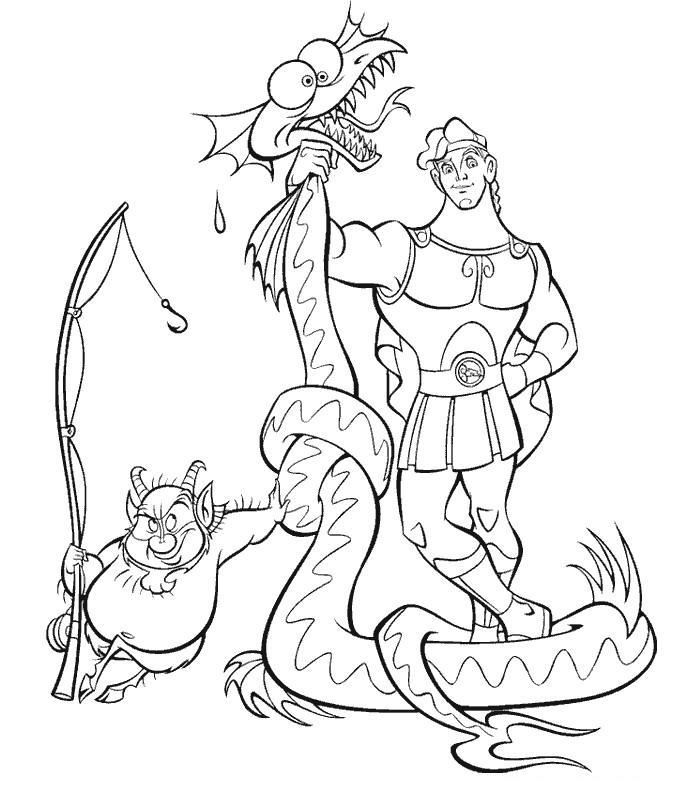Coloriage A Imprimer Hercule A La Peche Au Dragon Gratuit Et