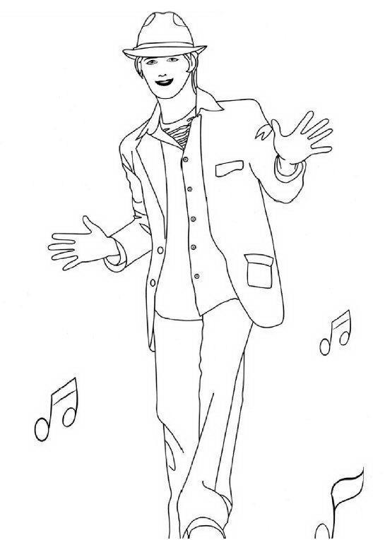 Coloriage a imprimer high school musical troy danse - Coloriage de danse ...