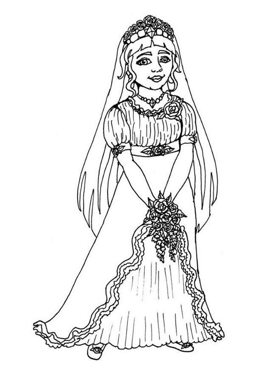 Coloriage a imprimer jolie mariee dans sa robe de mariage - Coloriage robe de mariee a imprimer ...
