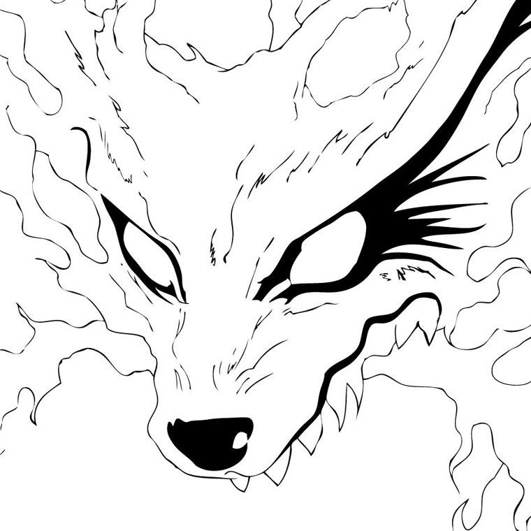 Coloriage A Imprimer Kiubi Le Demon Renard De Naruto Gratuit